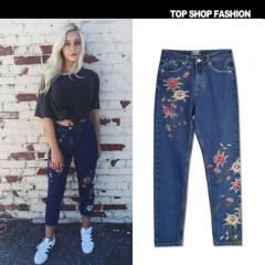 Women Denim PantsStraight Pants 3D Flowers Embroidery High Waist Ladies Jeans Legging Trousers blue 34