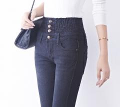 Hot Denim Pants Fashion Women Elastic High Waist Skinny Stretch Jean Female Spring Jeans black 26
