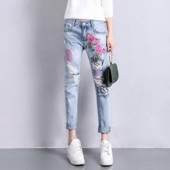 Hot Flower Harem Pants Slim Jeans Lady Straight Elegant Style Ripped Vintage Ankle-Length Pants blue 26