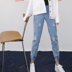 New Vintage Holes Jeans Women Casual Denim Pant Spring Summer High Waist Ripped Jeans blue s
