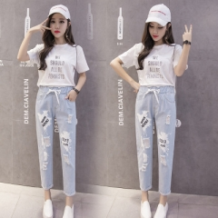 Woman Loose Fashion Casual denim Harem pants Ankle-Length Hole Elastic Waist all match trousers sky blue s