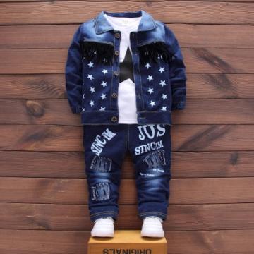 Toddler Sport Clothes Suit Cotton Boy Clothes Denim Jeans Coat T-shirt Pants 3PCS Star Tracksuit dark blue 80cm