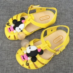 Melissa Mickey Sandals Jelly Crystal Children Shoes Mickey Minnie Girls Slippers Princess Shoes yellow uk7.5