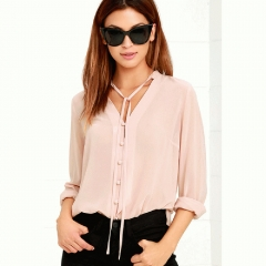 Women Shirts Single Breasted V Neck Long Sleeve Blouse Casual Brief Style Female Chiffon Shirt pink s