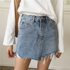 Jeans Skirt Women High Waist Jupe Irregular Edges Denim Skirts   Washed Faldas Casual Pencil Skirt blue s
