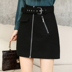 Zipper High Waist Mini Women Skirt Belt Solid A-Line Skirts Korean Skinny Saia Autumn  Warm Faldas black s