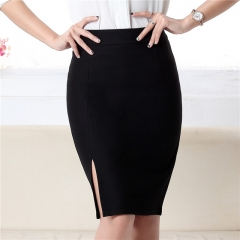 Fashion   new women skirt high waist work slim pencil skirt open fork sexy office lady skirts female black s