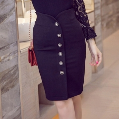 Sexy Women Office Skirt  Slim Bodycon High Waist Button Split Formal Office Lady Pencil Skirts black s