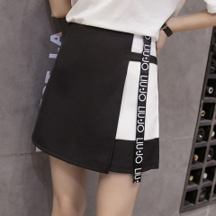 Chiffon SkirtsFashion Style Women Patchwork Letter Printed Skirts Anti-light High Waist Skirts black s