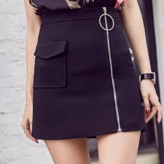 Skirts Summer 2017 For Female New Design Fashion Girl Plus Size Zipper High Waist Short black s