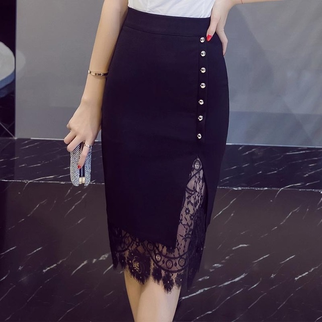 c363e10e8b21a Lace Patchwork Office Skirt Woman Pencil Skirts Sexy Fashion Skirt Ladies  Midi Bodycon Skirt black 4xl