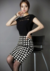 Summer Style New Fashion Casual Plaid Skirts Womens High Waist Long Pencil Skirt Female Clothing black s