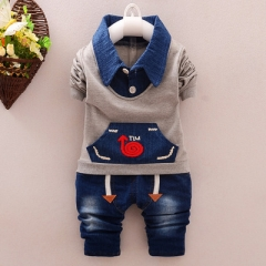 Spring Baby Clothing Sets Children Boys Kids Casual Sport Suits Tracksuits 2pcs Baby Boy Spring Set grey 120cm