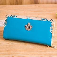 Luxury Wallet Female Patent Leather Long Zipper Clutch Wallet Ms. Crown Women's Wallet Handbags blue one size