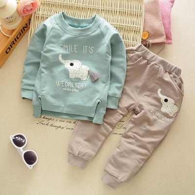 Spring baby children boys girls Cartoon Elephant Cotton Clothing Sets T-Shirt+Pants Sets Suit 12M-4T green 12m