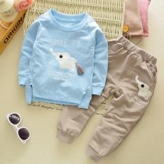 Spring baby children boys girls Cartoon Elephant Cotton Clothing Sets T-Shirt+Pants Sets Suit 12M-4T blue 4t