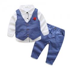Boys Clothing Sets Autumn 3 Pieces Set Shirt + Vest + Pants Boys Wedding Clothes Clothing Sets blue 140cm