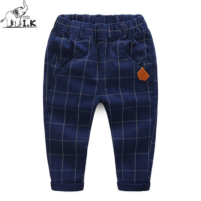 Boys Plaid Pants Kids Spring Cotton Long Pencil Pants Children Clothing Baby Boys Cotton Trousers dark blue 90cm