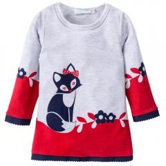 Kids Winter Warm Dress Girl A-line fox Sweater Dresses Knitted Long sleeve O Neck Party Wear Dress red 90cm