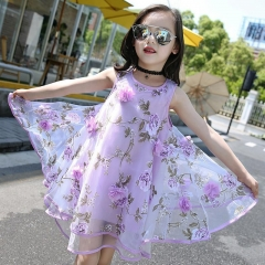 Flower Girls Dress Summer Style Toddlers Teen Children Princess Clothing Fashion Kids Party Dresses purple 120cm