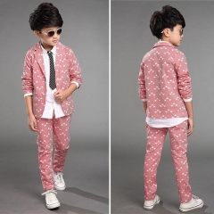 Spring Children Kids Wedding Party Clothes 2 Pieces Sets Pink Grey Blue Fashion Blazers Outfits pink 110cm