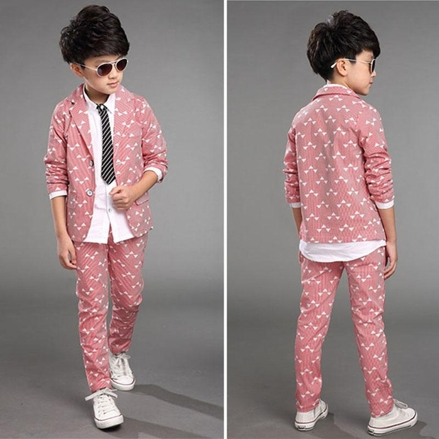 d45725c8a Spring Children Kids Wedding Party Clothes 2 Pieces Sets Pink Grey Blue  Fashion Blazers Outfits pink