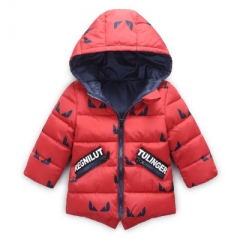 Winter New baby boy and girl clothes,children's warm jackets,kids sports hooded outerwear 3 Colors red 90cm