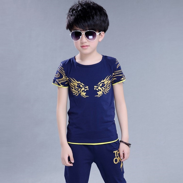 673d0d127 Children T-Shirt + Shorts Sport Suit sports clothes for boys tracksuit kids  sport suit for boy dark blue 130cm: Product No: 321308. Item specifics:  Seller ...