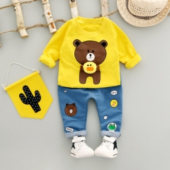 Boys Clothing Set Autumn Fashion Style Cotton O-Neck full Sleeve with Bear Print Baby Boy Clothes yellow 12m