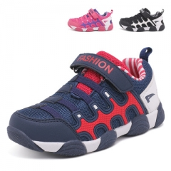 Children Sneakers Spring Kids Shoes Mesh and Leather Patch Running Sport Shoes Boys Girls Shoes dark blue uk9.5