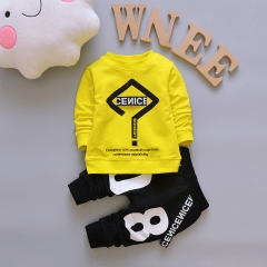 Boys Clothes Spring Autumn Long Sleeved T-shirt Tops + Pants 2PCS Outfits Casual Kids Sport Suits yellow 70cm