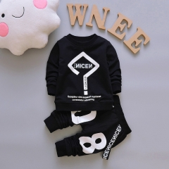 Boys Clothes Spring Autumn Long Sleeved T-shirt Tops + Pants 2PCS Outfits Casual Kids Sport Suits black 100cm