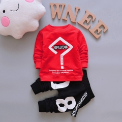 Boys Clothes Spring Autumn Long Sleeved T-shirt Tops + Pants 2PCS Outfits Casual Kids Sport Suits red 100cm