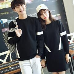 2018 Couples clothing black tumblr casual long sleeve t-shirt for lovers men tees women vestidos black girl s