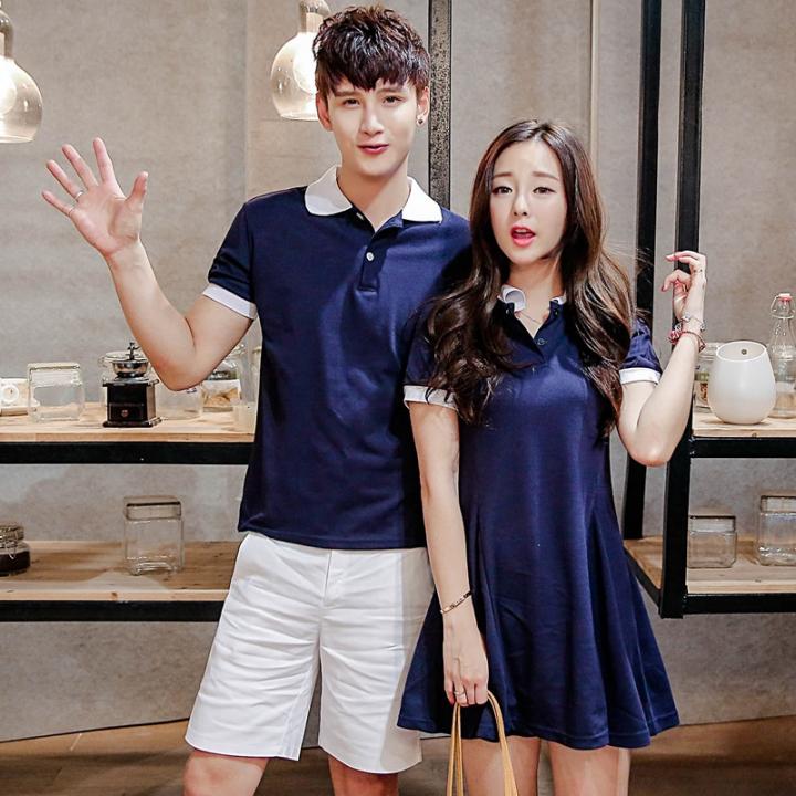 Couples Clothes Lovers Summer Short Sleeve Casual Cute Sweet Korean Matching Couple A Line Dress dark blue boy xl