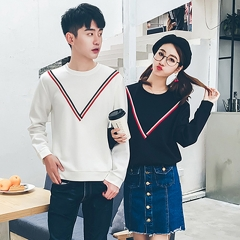 Matching Couple Clothes Lovers Sweatshirt Preppy Style CuteTops Striped Pullover Couple Hoodies black s