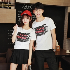 Lovers Couple Clothes Summer Short Sleeve Slim Letter Printed White Cotton Matching Couple T Shirt white s