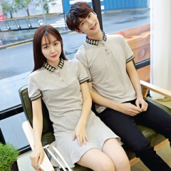 Couple Clothes For Lovers Wear Short Sleeve Cute Tops Ruffle Slim Girls Matching Couple T Shirts grey girl s