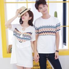 Couples Clothes For Lovers T-Shirt Summer Holiday Beach Wear Printed Tops Matching Couple T Shirts white girl s