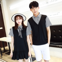 Couple Clothes For Lovers Preppy Style Dresses Patchwork Stripe Bow Faux Two Piece Shirt Dress black girl s