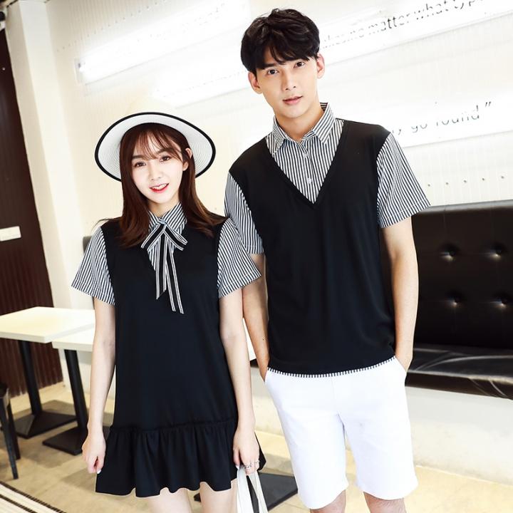 Couple Clothes For Lovers Preppy Style Dresses Patchwork Stripe Bow Faux  Two Piece Shirt Dress black boy xl