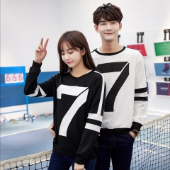 Couples Clothes Lovers Women Long Sleeve Cute Casual Cotton Blend Korean Matching Couple T Shirts black s