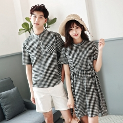Couple Clothes For Lovers Short Sleeve Casual Dresses Slim Waist Cute Sweet Black Plaid Shirt Dress black girl s
