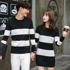 2018 Matching Couple Clothes Lovers Christmas Tunic Preppy Style Red Black Striped Couple Sweaters black girl s