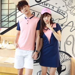 Couples Clothes For Lovers Summer Cute Sweet Tops Slim Casual T-Shirt Girls Matching Couple T Shirts pink girl s
