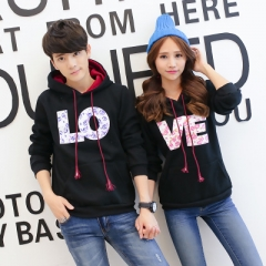 Autumn Outerwear For Lovers Female Male Couples Letter Print Tops Hooded Sweatshirts Couple Hoodies black girl m