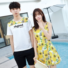 Matching Couple Clothes For Lovers Cute Sweet Dresses Slim Floral Print Bohemian Style A Line Dress yellow girl s