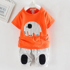 2018 New Hot kids cute cartoon clothes sets boys&girls short sleeve t-shirt + pants sport sets 2 pcs orange xl
