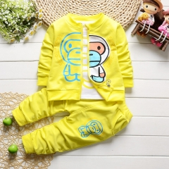 Kids clothes boys&girls baby coat + long sleeve t-shirt + pant sets children clothing sports suit yellow s
