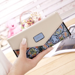 Wallet for women wallets purse dollar price printing designer purses card holder coin bag female blue one size